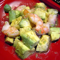 Avocado and Prawns in Wasabi