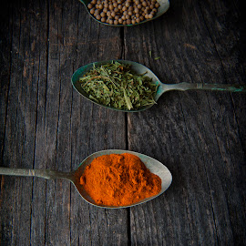 Spices by Gabriela Lupu - Food & Drink Ingredients ( flax seeds, pepper, oregano, spices, chili )