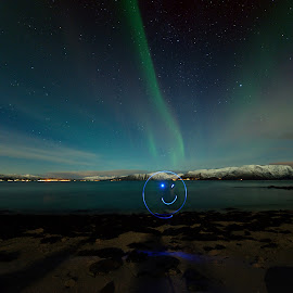Playing with leds under the northern light by Marius Birkeland - Abstract Light Painting ( light painting, led, northern lights, aurora borealis, aurora )