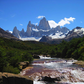 Mighty Fitz Roy by Phil Bear - Landscapes Mountains & Hills ( argentina, stream, mountain, patagonia, fitz roy, rocks )