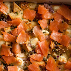 Smoked Salmon and Bagel Breakfast Casserole