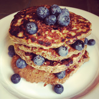 Blueberry Oat Protein Pancakes