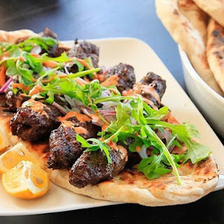 Kofte Kebabs with Spicy Harissa Yogurt Sauce and Grilled Flatbread (Minced Lamb Kebabs)