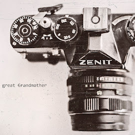 The Great Grandmother by Mark Awny - Typography Quotes & Sentences ( old, great, camera, zenit, grandmother )