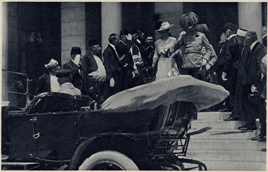 The Archduke and Duchess Sofie leaving the Town Hall in Sarajevo, Bosnia