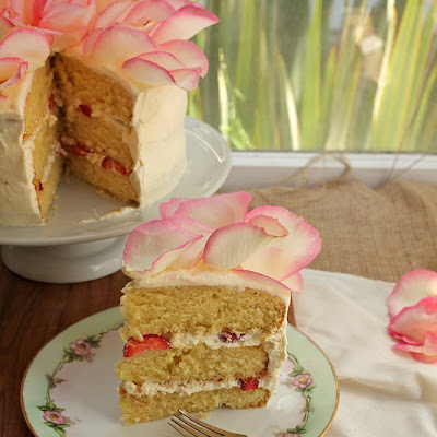 White Chocolate Rose Cake with Strawberries