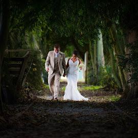 Taking a walk by Daniel Charlton - Wedding Bride & Groom ( walking, wedding, bride, groom, portrait )