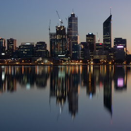 Dawn over Perth by David Alderson - City,  Street & Park  Skylines ( south perth jetty, reflection, perth, swan river, western australia,  )