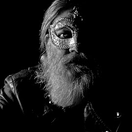 Eye by Don Durante - People Portraits of Men ( black background, jacket, b&w, black and white, beard, mask, self, men, leather, portrait, eye, Selfie, self shot, self portrait )