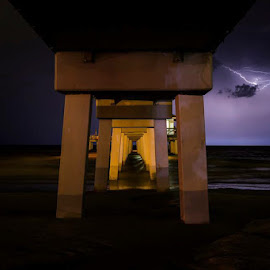 Under the Pier by Noel Benadom - Landscapes Weather ( lightning, pier, fort myers beach, nightscape )