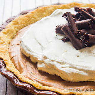 French Silk Pie with Homemade Vanilla Bean Whipped Cream.