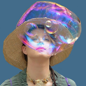 Bubble Gazing by June Morris - People Street & Candids ( bubble gazing women people )