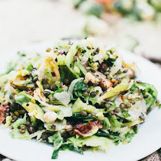 Shaved Brussels Sprouts, Lentils, Bacon, and Pear Salad