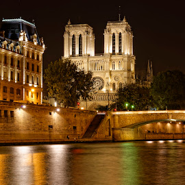 Notre Dame by Night by Claus Dahm - Buildings & Architecture Places of Worship ( paris, europe, church, notre dame, night, river )