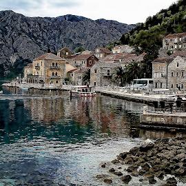 Montenegro  by Glyn Thomas Jones - Digital Art Places ( montenegro, mountains, village, buildings, architecture, seascape,  )