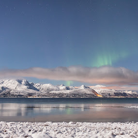 Auroras over hills by Benny Høynes - Landscapes Mountains & Hills ( hills, cold, northernlights, aurora, snow, lake, norway )