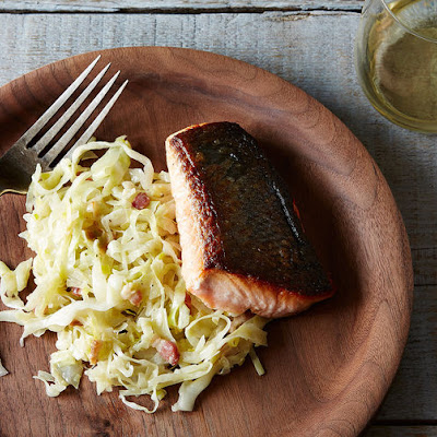 Russ Parsons's Crisp-Skinned Salmon (Plus Creamy Leeks and Cabbage