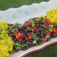 Yellow Rice Salad with Spicy Black Beans