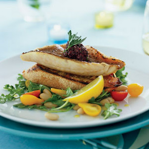 Red Snapper Fillets on Garlic Toasts with Arugula White-bean Salad
