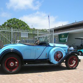 Its a oldie but a goody. by Linda McCormick - Transportation Automobiles ( model ?, blue car, old cars, convertible, rims )