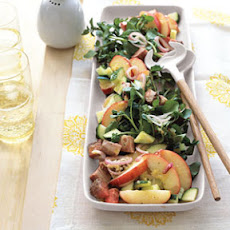 Beef, Watercress, and Peach Salad with Lime Vinaigrette