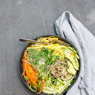 Cold Soba Noodle Salad With Raw Veggie Noodles + A Spicy Sunflower Seed Sauce