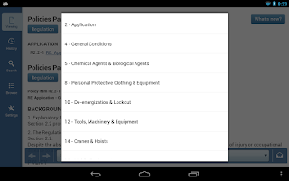 Screenshot of OHS Regulation Mobile App