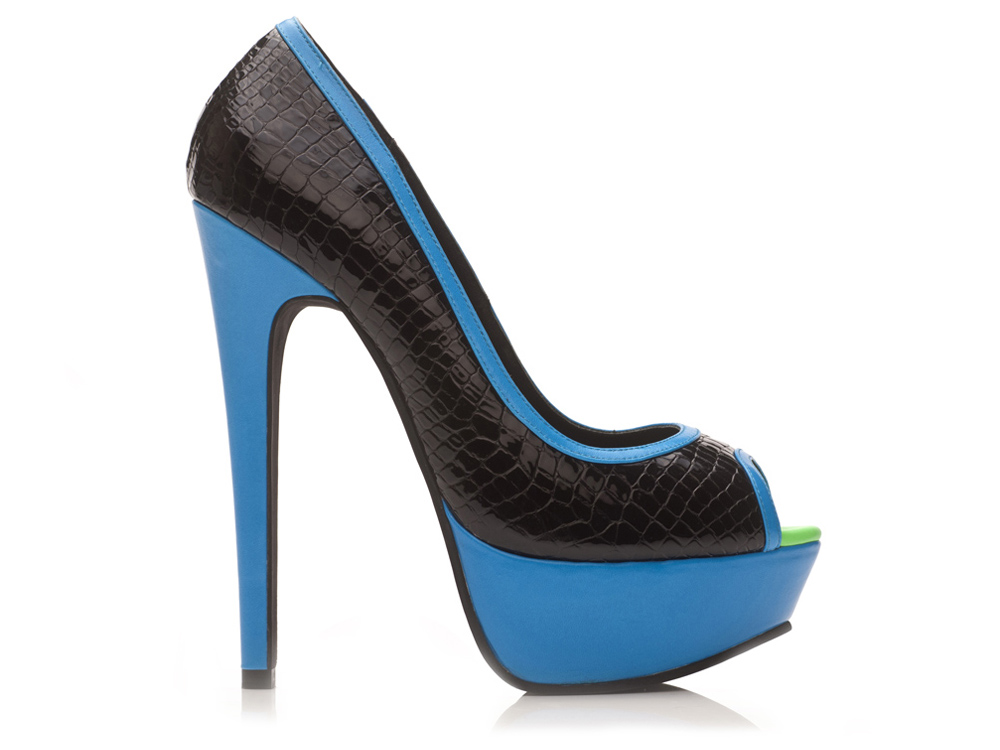 Shoes Blue and Patent Black Peeptoes