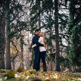 Forest Kiss by Jenna Rortvedt - People Couples ( evergreens, couples portrait, engagement photography, fall photos, couples )