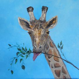VEGAN by Rhonda Lee - Painting All Painting ( face, unique, sky, zoo, blue, giraffe, art, rokinronda, africa, exotic, painting, animal )