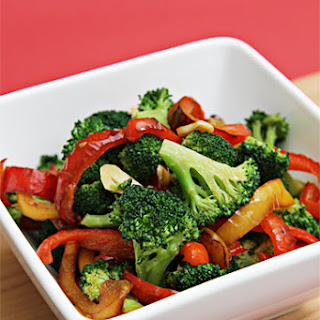Sautéed Broccoli With Yellow And Red Bell Peppers