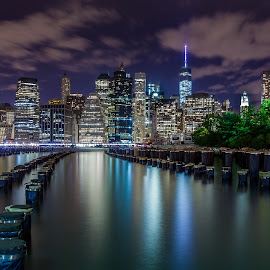 Manhattan from Brooklyn side by Julio Gonzalez - Buildings & Architecture Office Buildings & Hotels ( dock side, night photo, brooklyn bridge park, manhattan )
