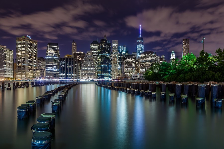 Manhattan from Brooklyn side by Julio Gonzalez - Buildings & Architecture Office Buildings & Hotels ( dock side, night photo, brooklyn bridge park, manhattan, Urban, City, Lifestyle, city at night, street at night, park at night, nightlife, night life, nighttime in the city )