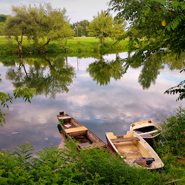 Three boats are waiting for fishermen by Oliver Švob - Instagram & Mobile Android ( water, korana, instagram, waterscape, boats, croatia, reflections, boat, fishing boat, sony, sony xperia, karlovac, river, mobile,  )