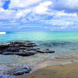 Barbados Beach by Steve Parsons - Landscapes Beaches ( sand, vacation, tourquois, barbados, blue, volcanic, beach, sailboat )