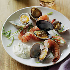 Cedar-Steamed Prawns and Clams with Onion Mayonnaise