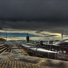 HMS Ocelot... by Graham Markham - Transportation Boats ( clouds, stormy, history, photomatix, hdr, yard, lightroom, chatham, submarine, boat, rochester, photoshop )