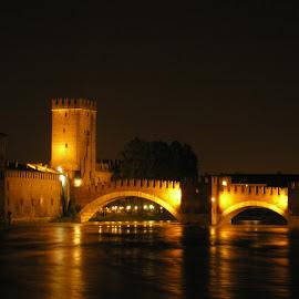 Romance in Verona by Dajana Petković - Novices Only Landscapes ( lights, tower, night photography, verona, bridge, river, nightscape )