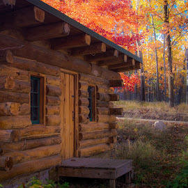 Autumn Cabin by Gary Hanson - Buildings & Architecture Other Exteriors ( cabin, old, autumn, trout lake, log )