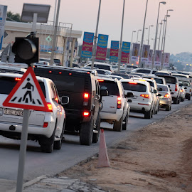 Hustle and Bustle of Ras Al Khaima by Aditya HK - Transportation Automobiles ( automobiles, traffic, uae, road, vehicles, evening )