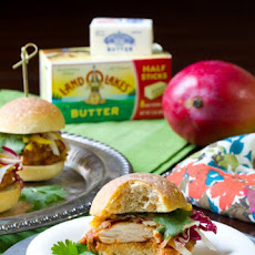 Butter Chicken Sliders with Pickled Mango Slaw