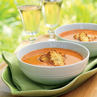 Grill-Roasted Tomato Soup with Parmesan Croutons