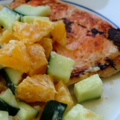 Ginger Citrus Salmon with Cucumber and Orange Salsa