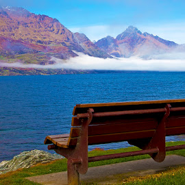 Queenstown Fog by Monique Manson - City,  Street & Park  City Parks ( silent, queenstown, mountain, peaceful, bench, park, crisp, lake, quiet, morning, chair, tranquil, wooden, winter, cold, fresh, seat, fog, serenity, cloud, early,  )