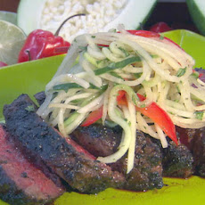 Jerk Rubbed Rib-Eye with Green Papaya Relish