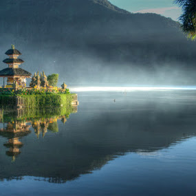 Temple On The Lake by Yande Ardana - Landscapes Travel ( temple, bali, mountain, lake )