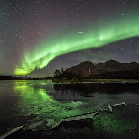 aurora over lake by Benny Høynes - Landscapes Starscapes ( shootingstar, stars, northern lights, aurora, norway )