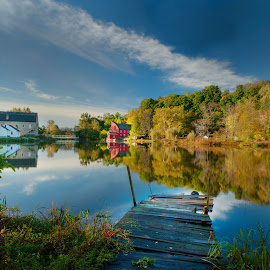 Clinton, NJ by Gary Aidekman - Landscapes Waterscapes ( raritan river, waterscape, clinton nj, hunterdon art museum, red mill museum, dock, river )