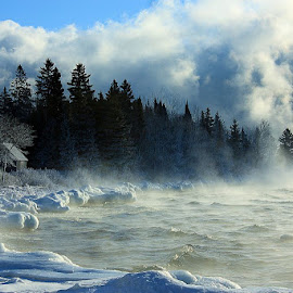 Stoney Point Steam Bath by Jamie Rabold - Landscapes Weather ( the big lake, winter, cold, sea smoke, north shore, stoney point, lake superior, frozen )