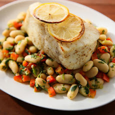 Halibut with Watercress Pesto and Cannellini Beans Recipe